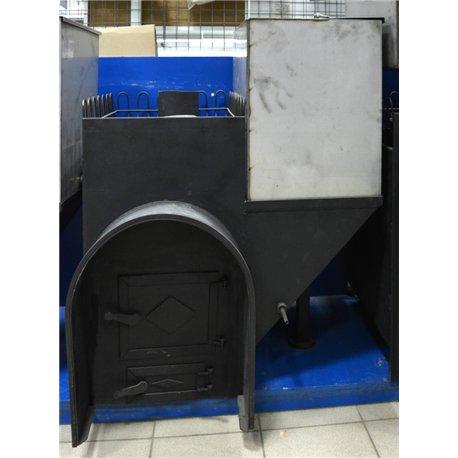 Печь для бани Паровоз-2 правый с аркой и баком - общий вид | zz-c.ru