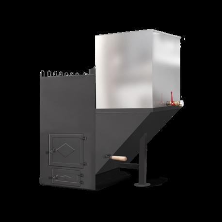 Печь для бани Паровоз-2 правый с баком - общий вид | zz-c.ru