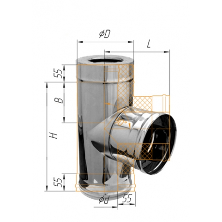 сэндвич-тройник 90гр ф150/210 н.430/0,5мм + оц